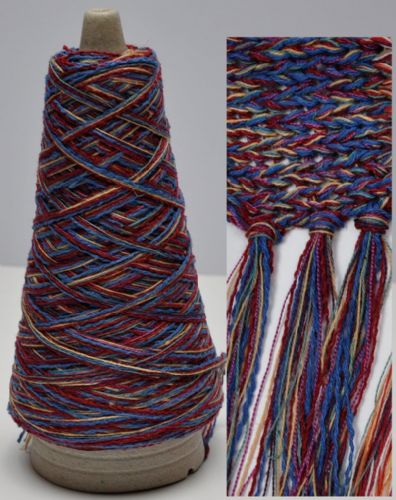 100g cone Burgundy-Peach-Blue Chunky Multi-coloured Chunky Cotton-Linen yarn multiple untwisted ply's